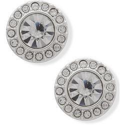 You're Invited Silver Tone Rhinestone Halo Stud Earrings