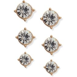 You're Invited Gold Tone Rhinestone Stud Earring Set