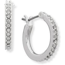 You're Invited Silver Tone 17mm Rhinestone Hoop Earrings