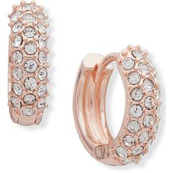 You're Invited Rose Gold Tone Pave Huggie Hoop Earrings