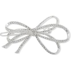 You're Invited Silver Tone Pave Rhinestone Bow Hair Clip