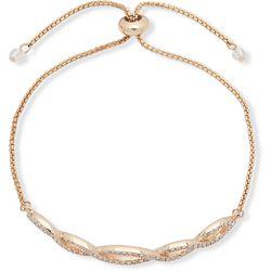You're Invited Gold Tone Pave Weave Slider Bracelet