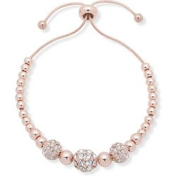 You're Invited Rose Gold Tone Pave Ball Slider Bracelet