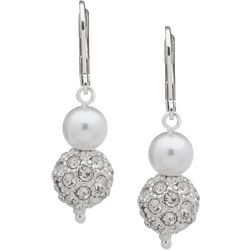 You're Invited Double Pearl Fireball Drop Earrings