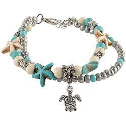 Viva Life Howlite Blue Starfish & Sea Turtle Charm Bracelet