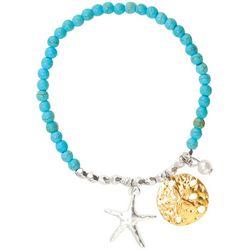 Viva Life Howlite Blue Beads Sea Life Charms Bracelet