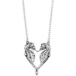 Viva Life Silver Tone Kissing Seahorse Pendant Necklace