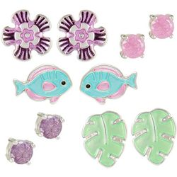 Bay Studio 5-pc. Silver Tone Tropical Fish Stud Earring Set