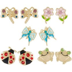 Bay Studio 5-pc. Gold Tone Flower & Bugs Earring Set