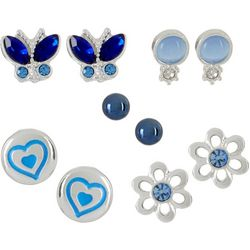 Bay Studio 5-pc. Silver Tone Flower Heart Stud