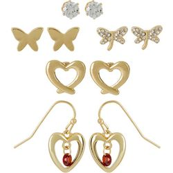 Bay Studio 5-pc. Gold Tone Hearts & Butterfly Earring Set