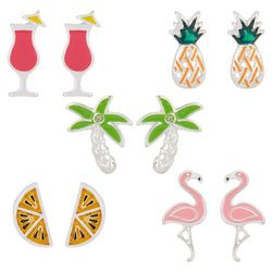 Bay Studio 5-pc. Silver Tone Tropical Earring Set