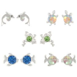 Bay Studio 5-pc. Silver Tone Fish & Dolphin Earring Set