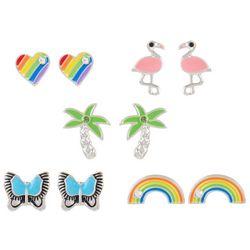 Bay Studio 5 Pr Rainbow & Flamingo Stud Earring Se