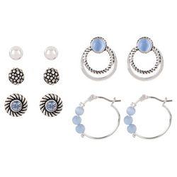 Bay Studio 5 Pr Blue Hoop & Stud Earring Set