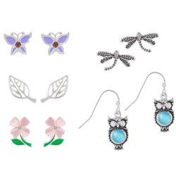 Bay Studio 5 Pr Owl Drop & Flower Stud Earring Set
