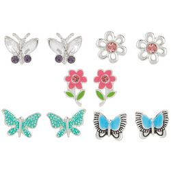 Bay Studio 5-pc. Butterfly & Flower Earring Set