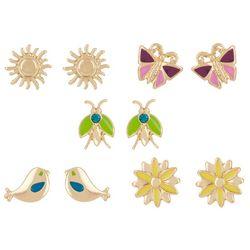 Bay Studio 5-pc. Gold Tone Flower Sun Earring Set
