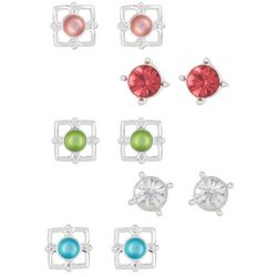 Bay Studio 5-pc. Brilliant Stones Silver Tone Earring