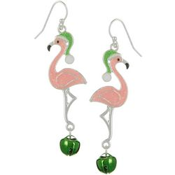 Brighten the Season Holiday Flamingo Bell Earrings