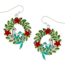 Brighten the Season Holiday Mermaid Wreath Earrings