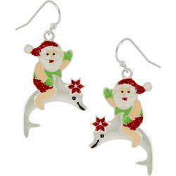 Brighten the Season Santa On Dolphin Earrings