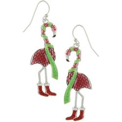 Brighten the Season Holiday Flamingo Earrings