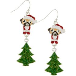 Brighten the Season Pug & Christmas Tree Dangle Earrings
