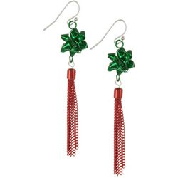 Brighten the Season Holiday Bow Tassel Earrings