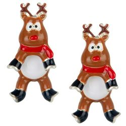Brighten the Season Front & Back Reindeer Earrings