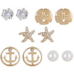 Bay Studio 5 Pr Starfish Anchor Pearl Earring
