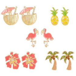 Bay Studio 5 Pr. Flamingo Pineapple Stud Earrings