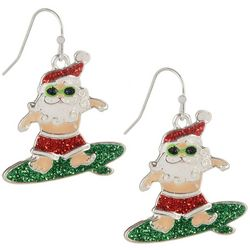 Brighten the Season Holiday Surfing Santa Earrings