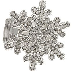 Brighten the Season Rhinestone Snowflake Stretch Ring