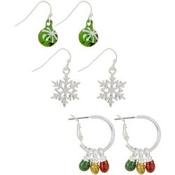 Brighten the Season 3-pc. Holiday Bell & Bulbs Earring Set