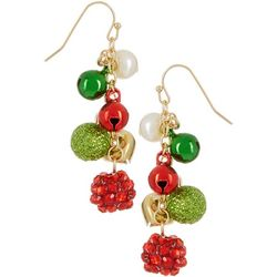 Brighten the Season Holiday Bell & Bead Earrings