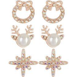 Brighten the Season Rhinestone Holiday Stud Earring Set