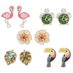 Bay Studio 5-pc. Tropical Turtle Flower Earring Set