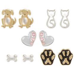 Bay Studio 5-pc. Dog & Cat Stud Earring Set