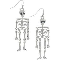Halloween Silver Tone Skeleton Dangle Earrings