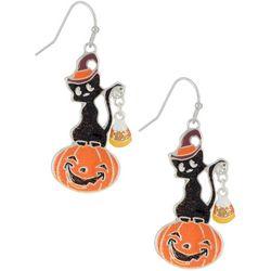 Halloween Black Cat & Pumpkin Drop Earrings