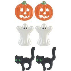 Halloween 3-pc. Cat Pumpkin Ghost Stud Earring Set