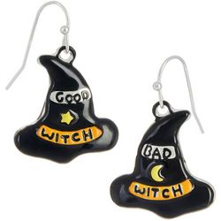 Halloween Black Enamel Good Witch & Bad Witch Hat Earrings