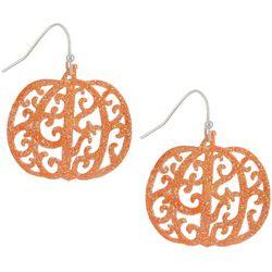 Halloween Filigree Glitter Harvest Pumpkin Earrings