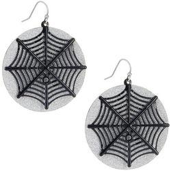 Halloween Black Spider Web Glittered Discs Earrings