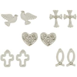 Bay Studio Multiples 5-pc. Cross Heart Earring Set