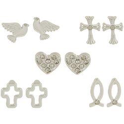 Bay Studio Multiples 5-pc. Cross Heart Earring Set