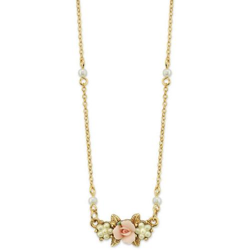 cb76d7801f7e1 1928 Jewelry Faux Pearl Pink Porcelain Rose Necklace