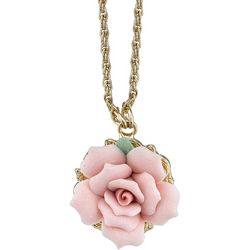 1928 Jewelry Pink Porcelain Rose Pendant Necklace