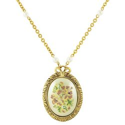 1928 Jewelry Gold Tone Oval Flower Pendant Necklace